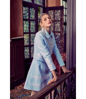 Marie Elie Lake Blue Embroidery Skirt