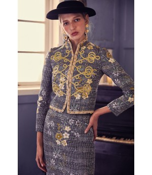 Marie Elie Gold Flower Embroidery Skirt