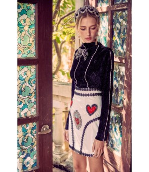 Marie Elie White Heart Skirt