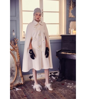 Marie Elie White Flower Cotton Coat