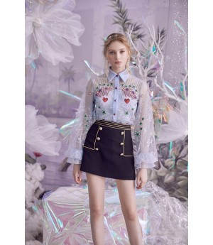 Marie Elie Shinning Embroidery Top