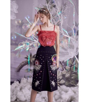 Marie Elie Shinning Embroidery Skirt