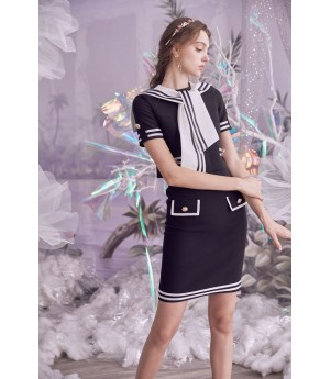 Marie Elie Black&White Navy Skirt