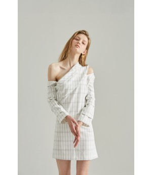 Rumia Amore Checkered Dress-White