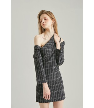 Rumia Amore Checkered Dress-Black