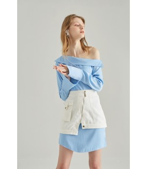 Rumia Evening Light Shirt Dress-White and Blue