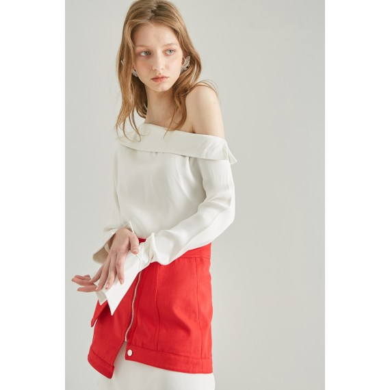Rumia Evening Light Shirt Dress-White and Red