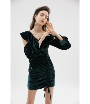 Rumia Serenity Velvet Dress-Dark Green
