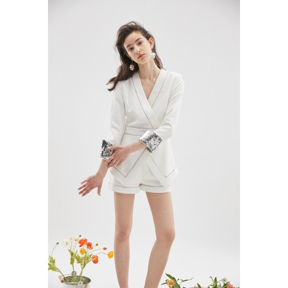 Rumia Linearity Playsuit-Ivory