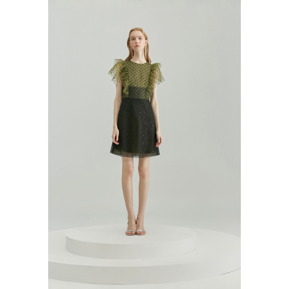 Rumia Fiona Mesh Dress-Black&Green