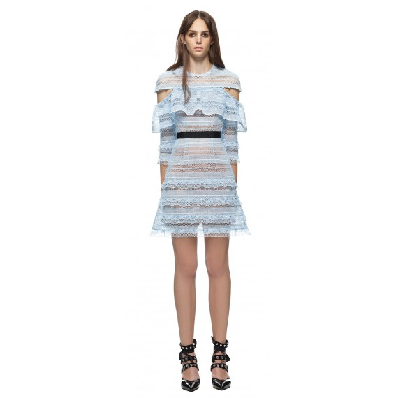 Self-Portrait Stripe Grid Mini Dress