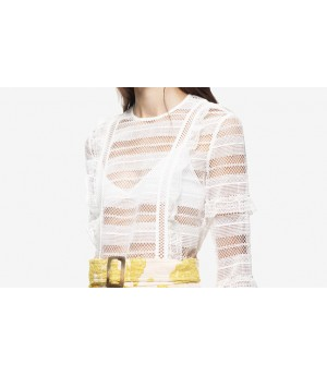 Self-Portrait Stripe Grid Top White