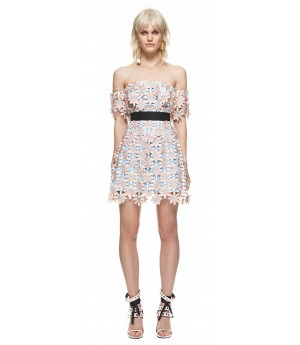 Self-Portrait 3D Floral Mini Dress in Pink