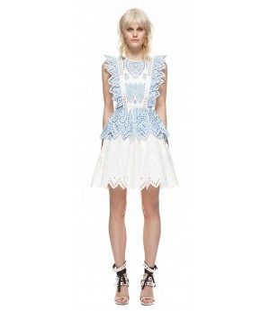 Self-Portrait embroidered frill mini dress