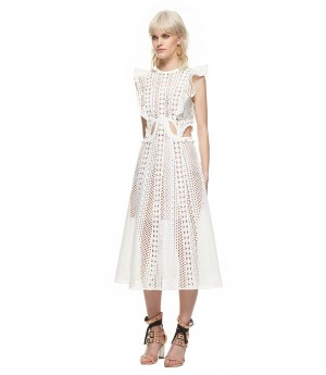 Self-Portrait embroidered cutout midi dress white