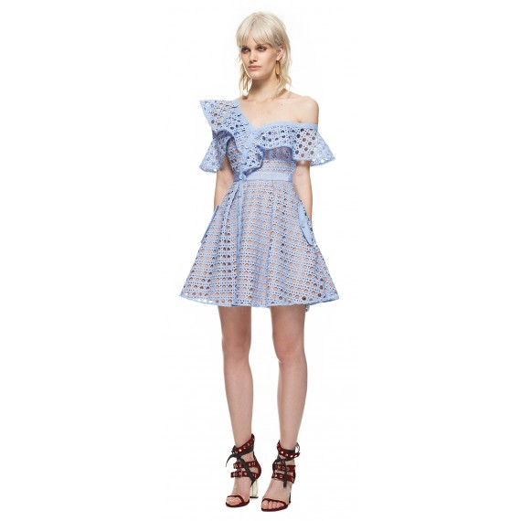 Self-Portrait Guipure Frill Mini Dress