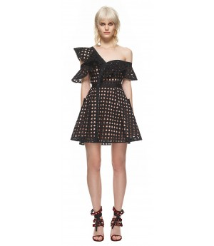 Self-Portrait Guipure Frill Mini Dress Black