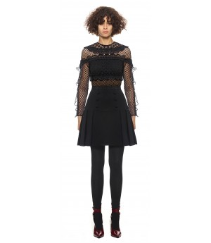 Self-Portrait Bellis Lace Trim Dress Black