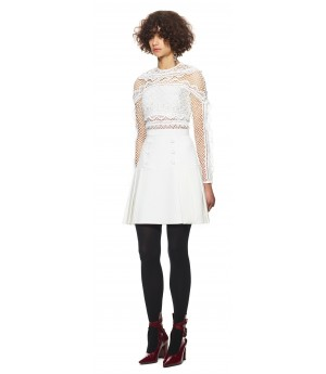 Self-Portrait Bellis Lace Trim Dress White