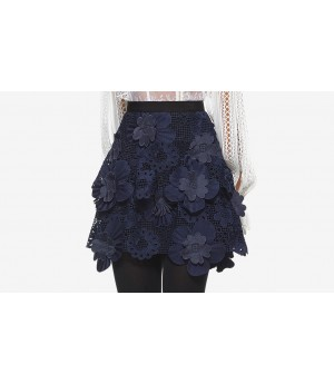 Self-Portrait 3D Floral Mesh Skirt