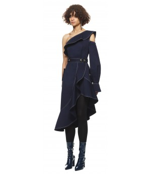 Self-Portrait Canvas Asymmetric Frill Dress