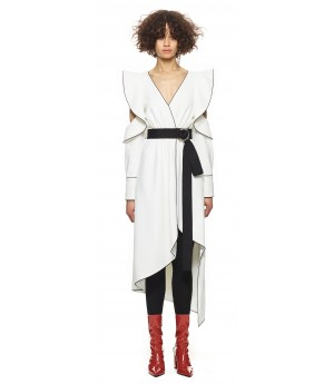 Self-Portrait monochrome asymmetric wrap dress white