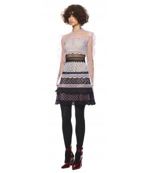 Self-Portrait bellis lace trim dress with frilled sleeves