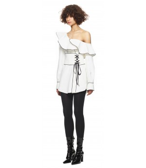 Self-Portrait Canvas Corset Belted Tunic