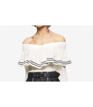Self-Portrait Striped Off Shoulder Sweater