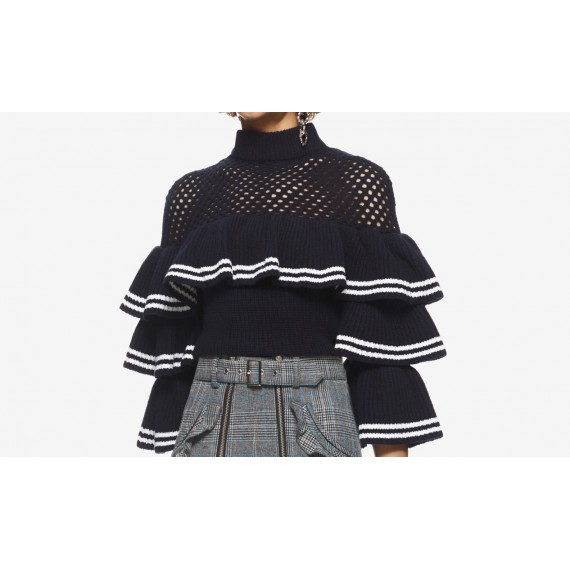 Self-Portrait Striped Frill Sweater