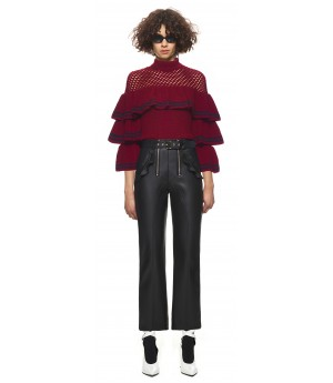 Self-Portrait striped frill sweater in burgundy