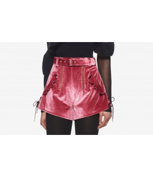 Self-Portrait Pink Double Zip Shorts