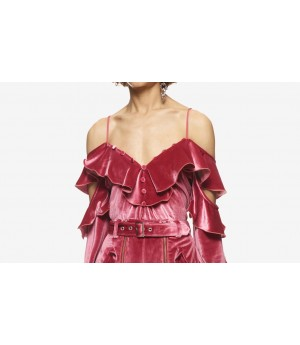 Self-Portrait Velvet Off Shoulder Frill Top