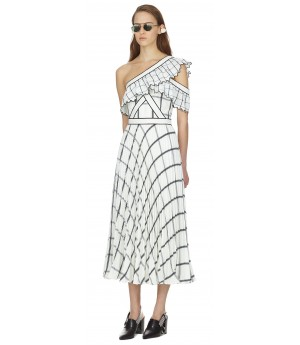 Self-Portrait monochrome check frill midi dress