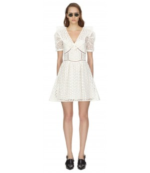 Self-Portrait White Floral Petal Broderie Mini Dress