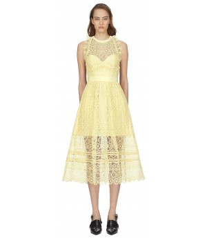 Self-Portrait yellow circle floral lace midi dress