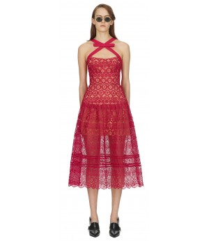 Self-Portrait Fuchsia Circle Floral Lace Midi Dress-Red