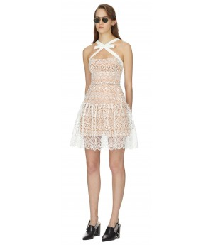 Self-Portrait White Circle Floral Lace Mini Dress-White