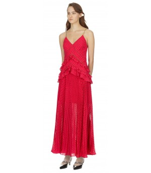 Self-Portrait Fuchsia Plumetis Panelled Midi Dress