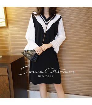 SomeOthers Puff Sleeve Knit Dress-Black
