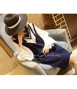 SomeOthers Puff Sleeve Knit Dress-Blue