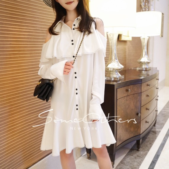 SomeOthers Ruffled Shoulder Cut-Off Dress-White