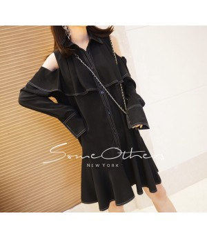 SomeOthers Ruffled Shoulder Cut-Off Dress-Black