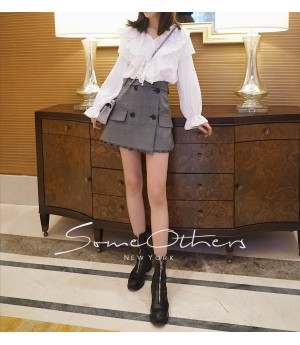 SomeOthers Buttoned Check  Skirt