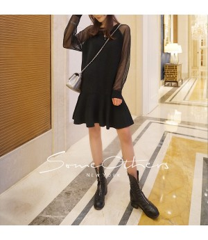 SomeOthers Sparkling Sleeve Sweater Dress-Black