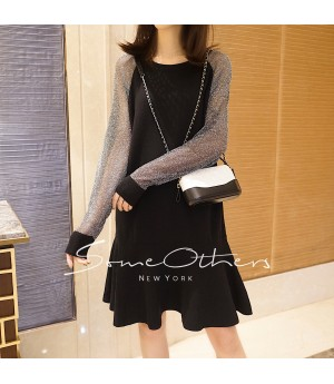 SomeOthers Sparkling Sleeve Sweater Dress-Black&Gary