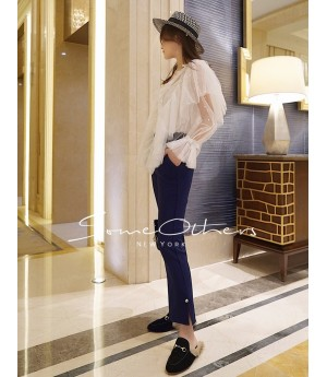 SomeOthers Pearl Embellished Flare Pants-Blue