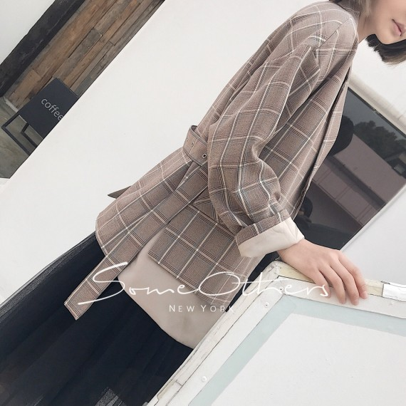 SomeOthers Checked Blazer-Camel
