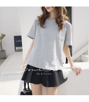 SomeOthers Cotton-Jersey And Lace T-Shirt-Grey