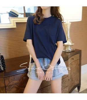 SomeOthers Cotton-Jersey And Lace T-Shirt-Blue